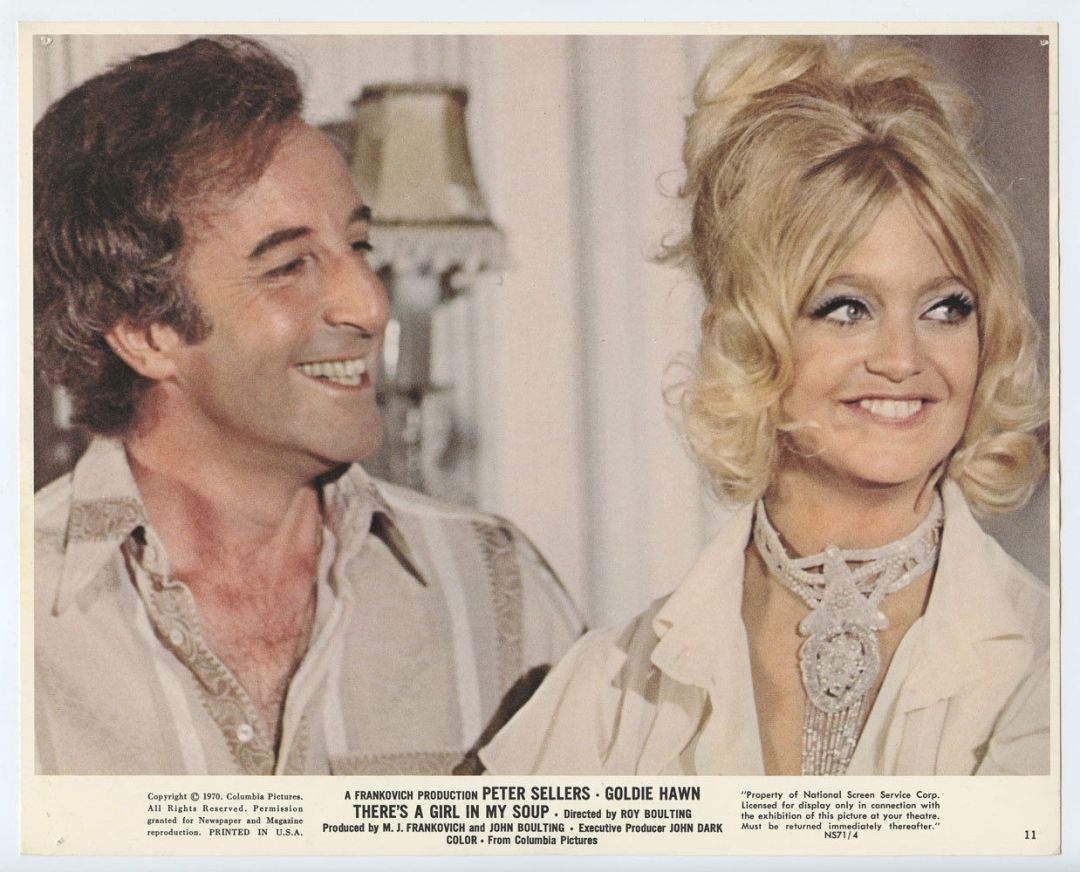 Peter Sellers Goldie Hawn 1971 There's a Girl in My Soup  Lobby Card