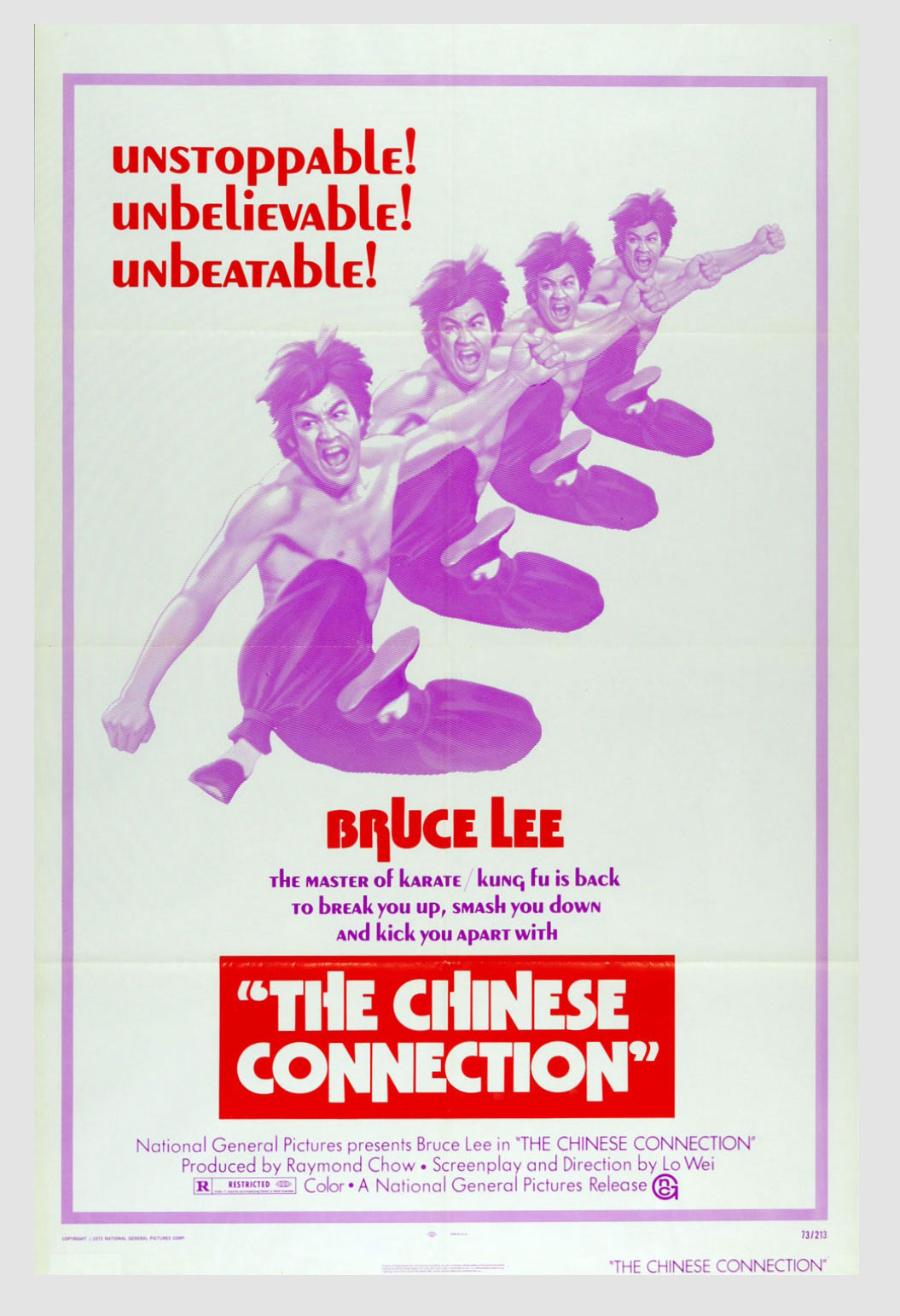 Bruce Lee Movie Poster 1973 The Chinese Connection Fist of Fury 24 x 41 1 sheet