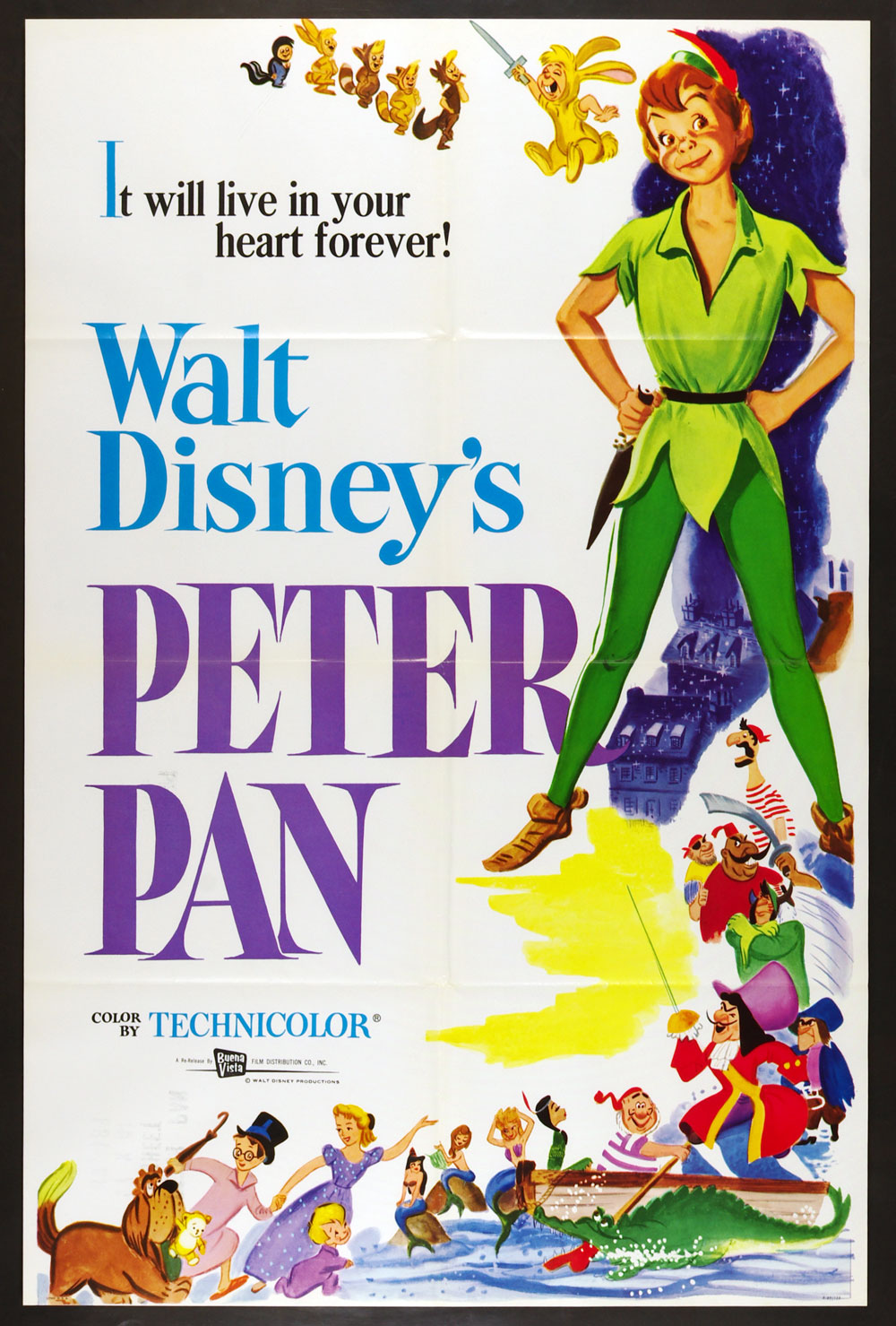 Peter Pan 1953 Classic R1969 Movie Poster 27 x 41 1 Sheet