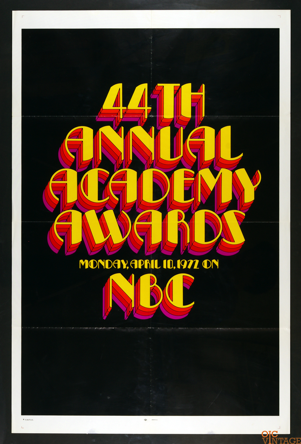 44th Academy Awards 1972 Vintage 27 x 41 Poster 1 sheet