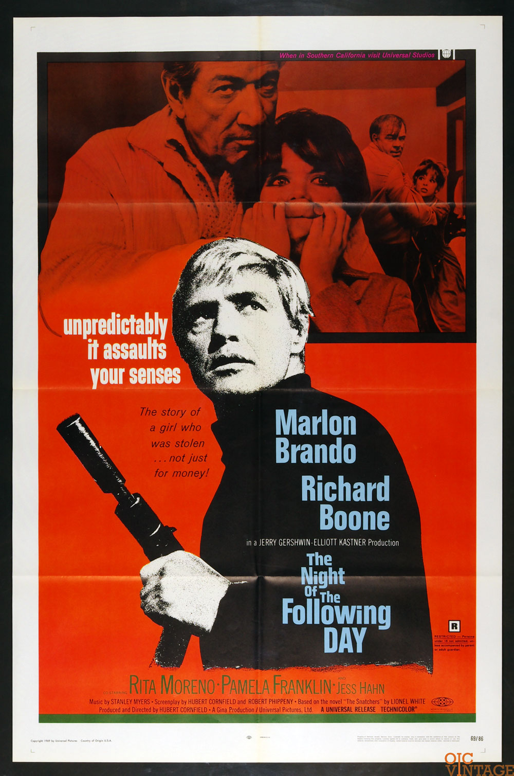 The Night of the Following Day Movie Poster 1969 Marlon Brando 27 x 41 1 sheet