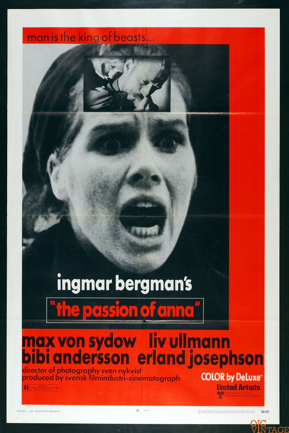 The Passion of Anna Movie Poster 1970 Max von Sydow Liv Ullmann 27x41