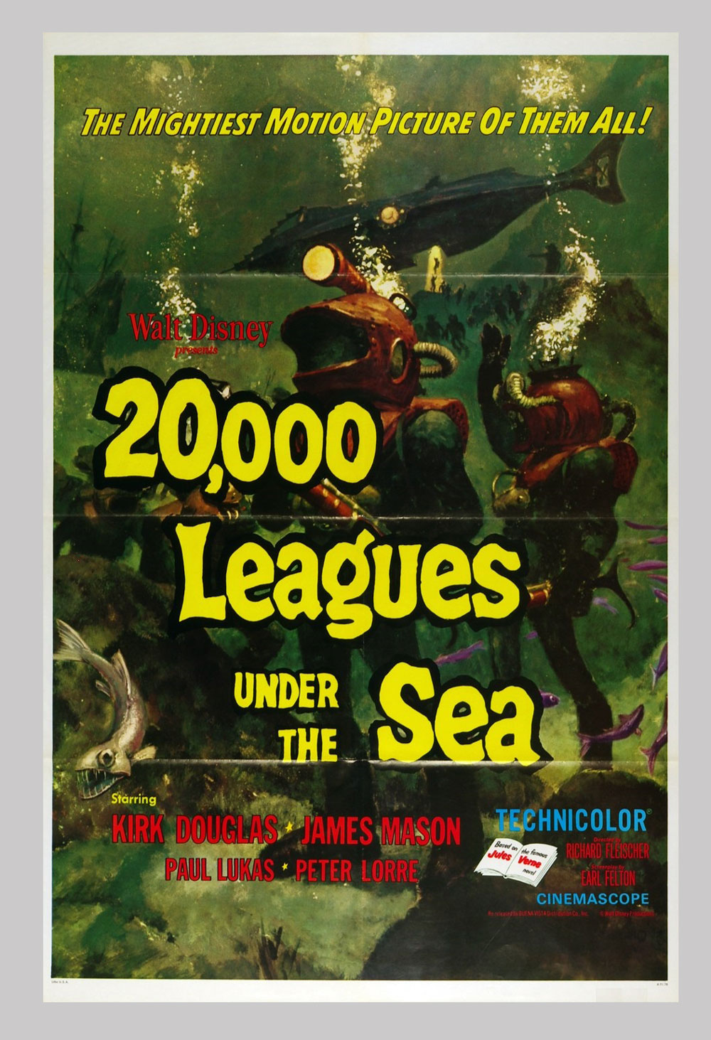 20,000 Leagues Under the Sea Movie Poster 27x41 1 sheet R1971
