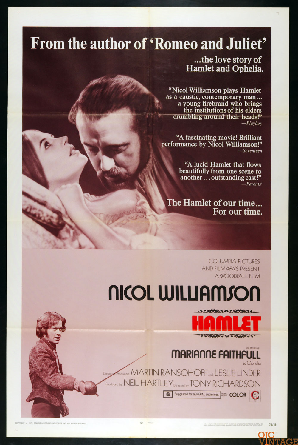 Hamlet Movie Poster 1970 Nicol Williamson  27x41 1 Sheet