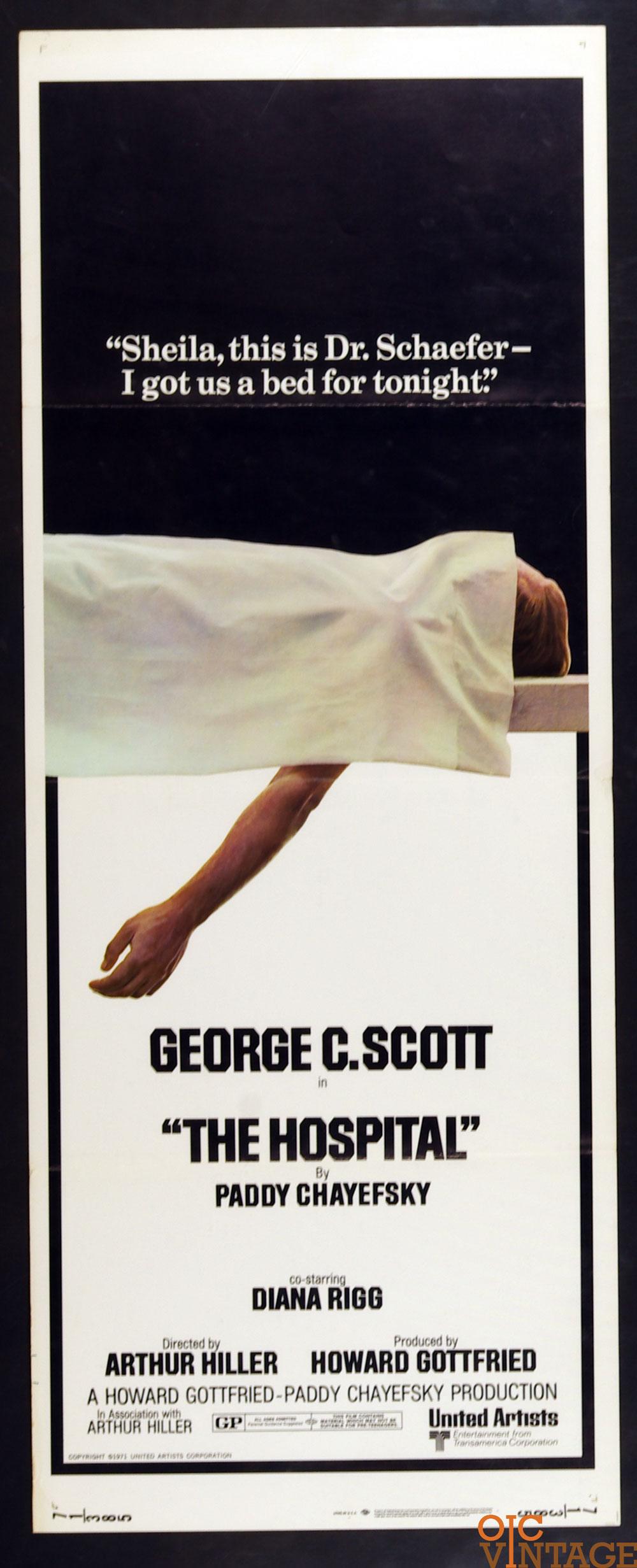The Hospital Movie Poster 1971 George C Scott 14 x 36 1 Sheet