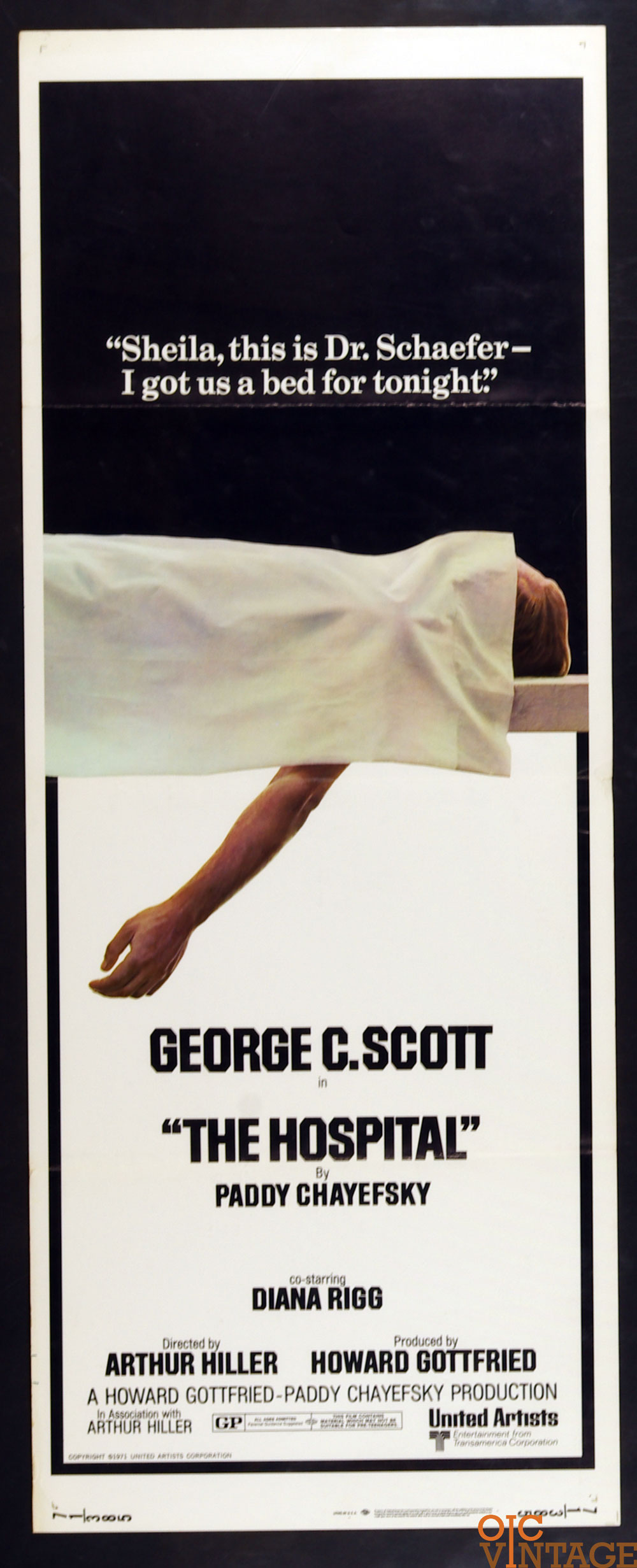 The Hospital Movie Poster 1971 George C Scott 14 x 36 1 Sheet