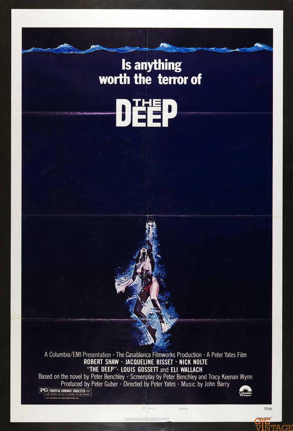 The Deep Movie Poster 1977 Jacqueline Bisset Nick Nolte 27x41 1 Sheet