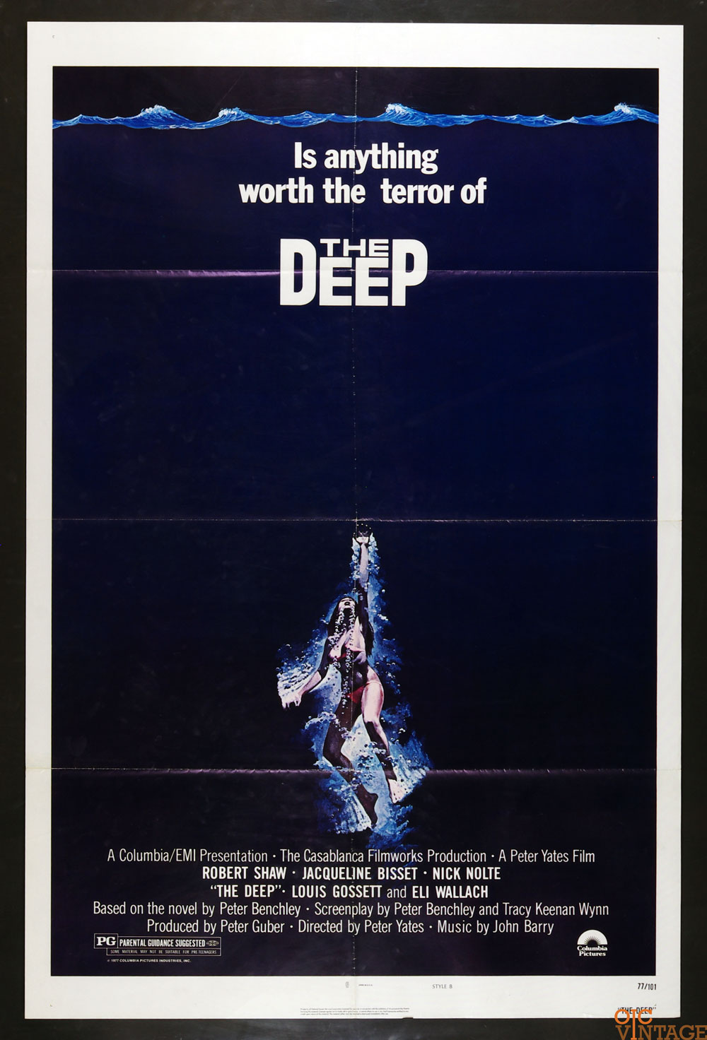 The Deep Movie Poster 1977 Jacqueline Bisset Nick Nolte 27x41 1 Sheet