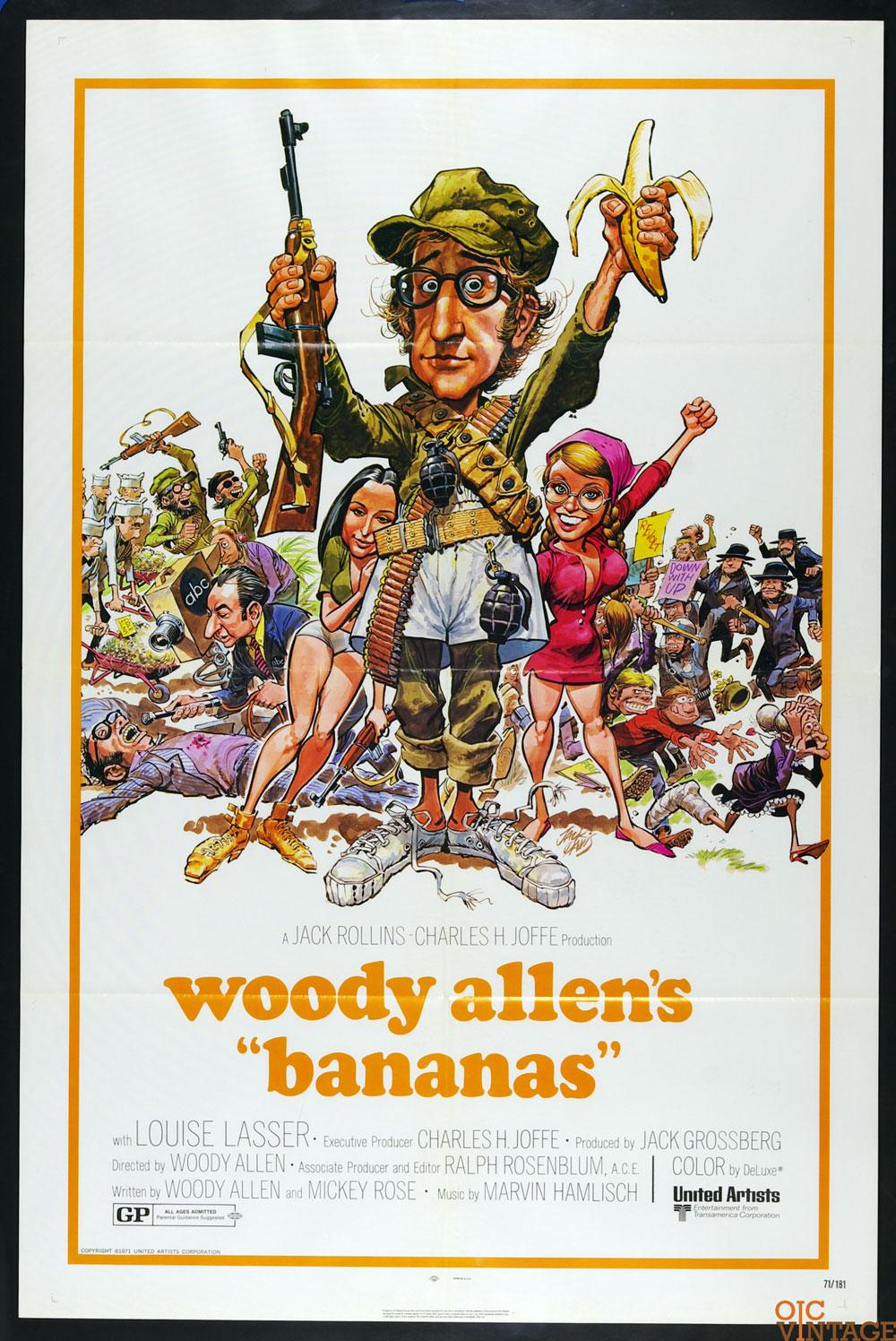 Bananas Movie Poster 1971 Woody Allen 27 x 41 1 Sheet