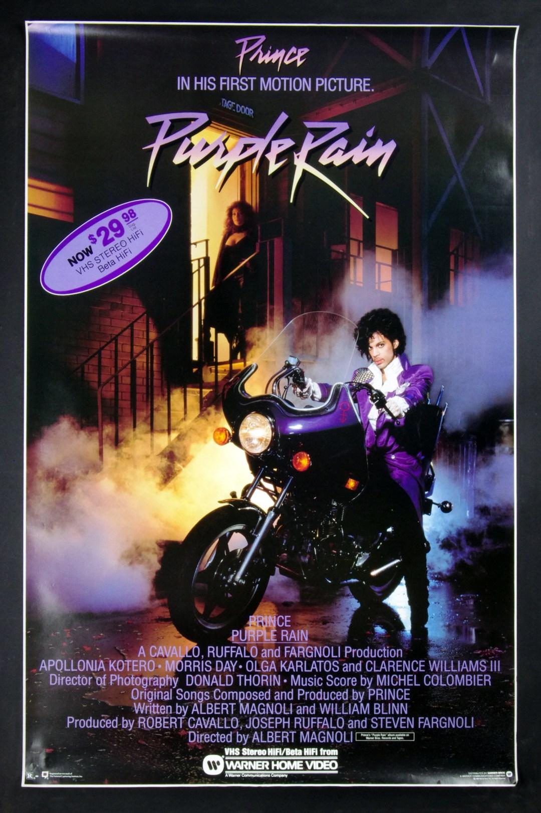Prince Poster Purple Rain 1984 Movie Home Video Promo 27 x 39
