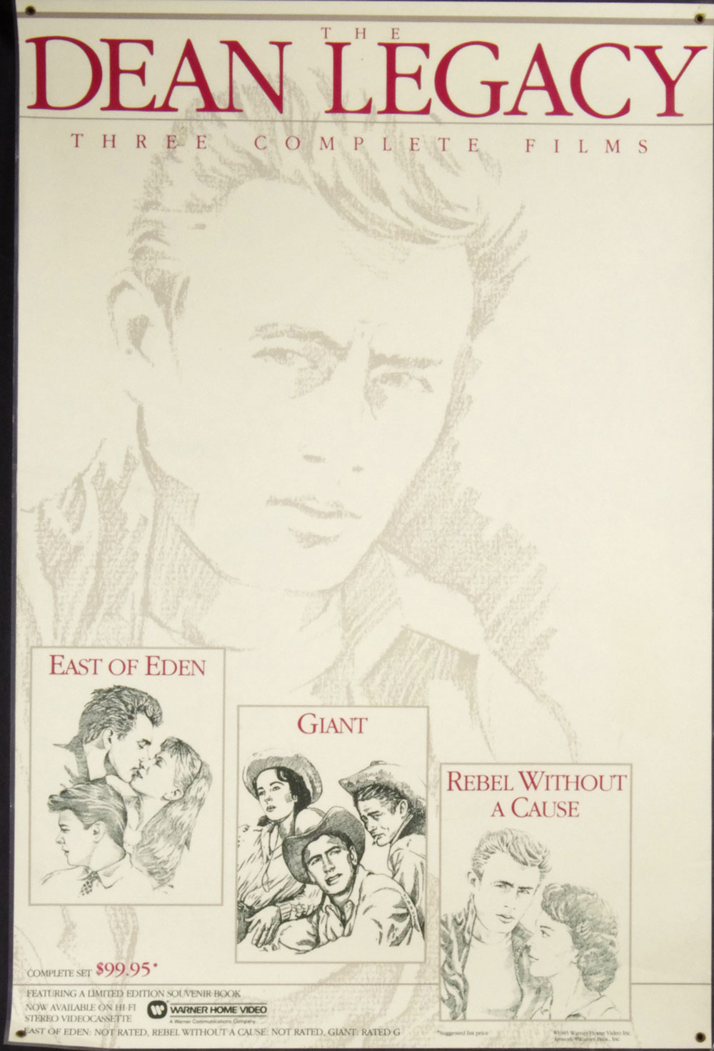 James Dean Poster 1985 The Dean Legacy Home Video Promo Laminated