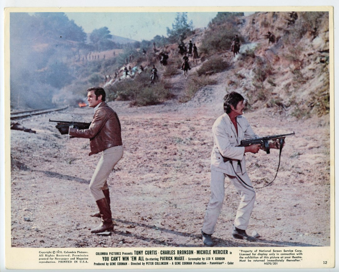 Charles Bronson Tony Curtis 1970 You Can't Win'Em All 8x10 Lobby Card