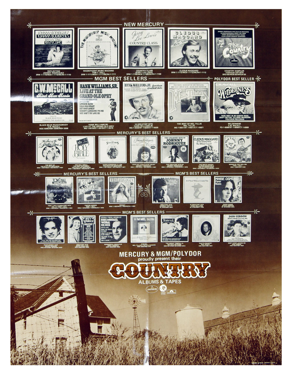 Country Music Best Seller Poster 1975 Mercury MGM Polydor 21 x 28