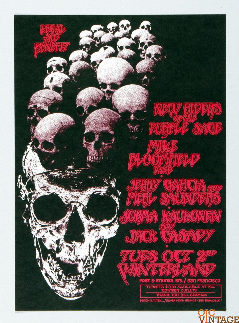 Bill Graham Legal Benefit Jerry Garcia Poster 1973 Oct 2 Winterland Randy Tuten