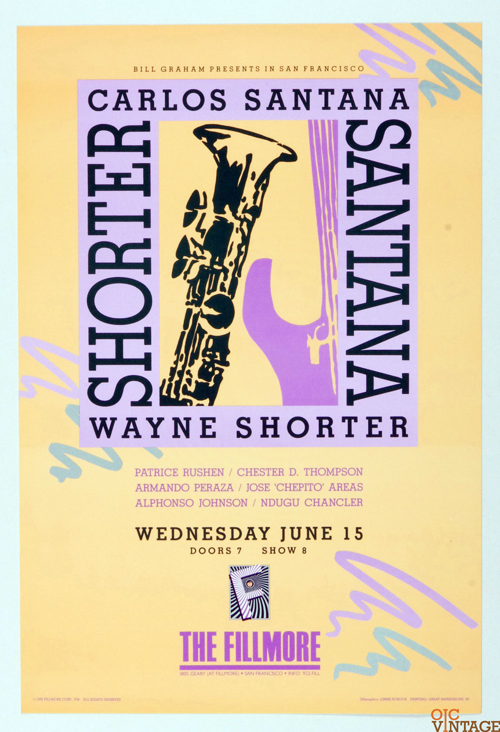 Santana Poster 1988 Jun 15 New Fillmore