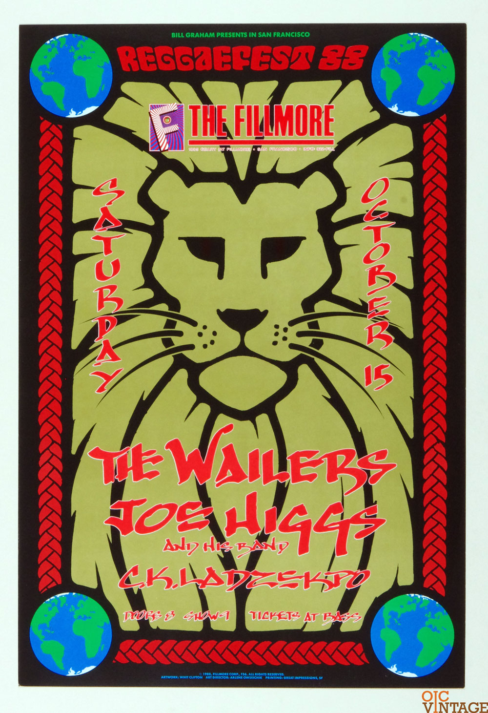 New Fillmore F056 Poster The Wailers Joe Higgs 1988 Oct 15