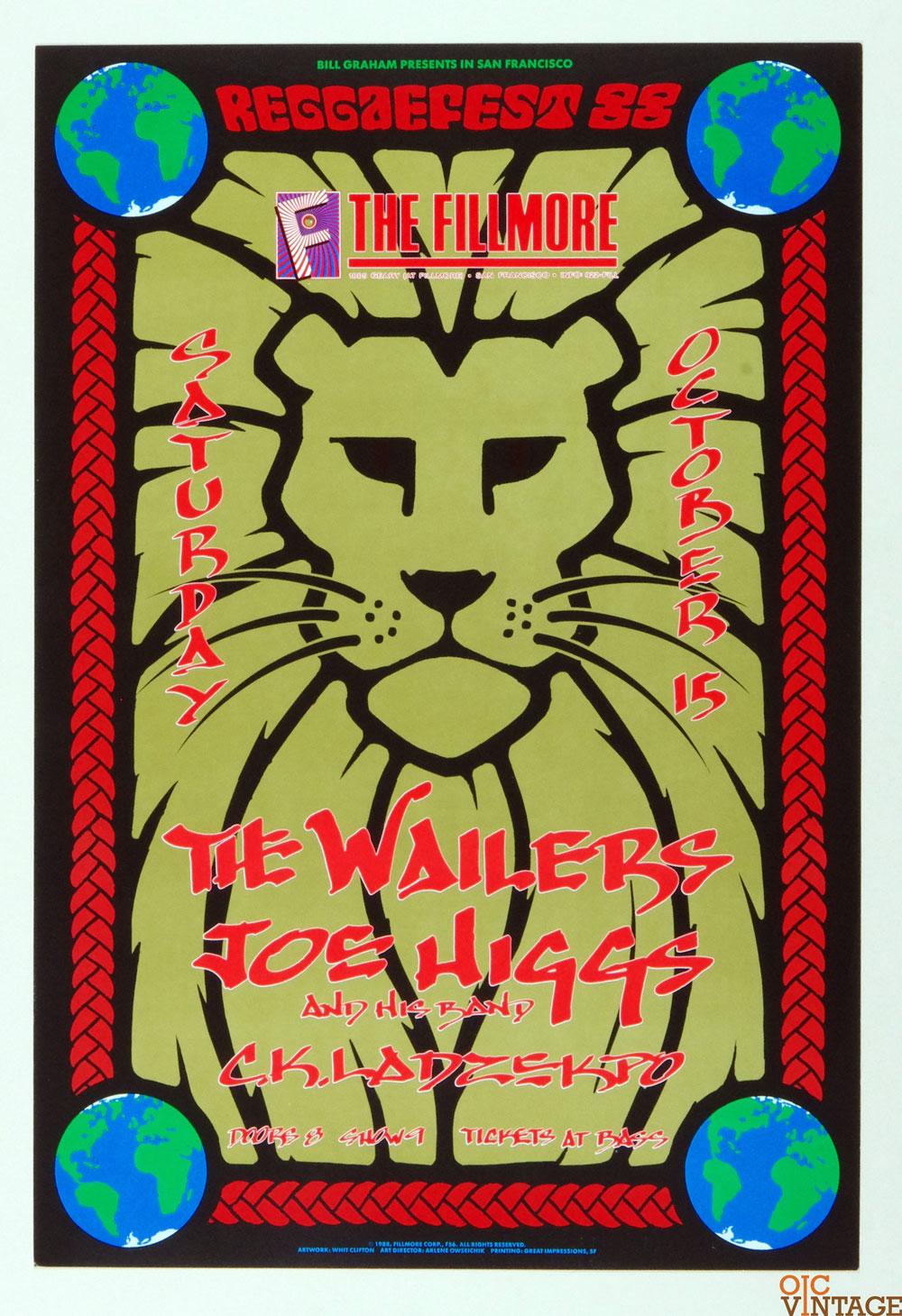The Wailers Joe Higgs Poster 1988 Oct 15 New Fillmore