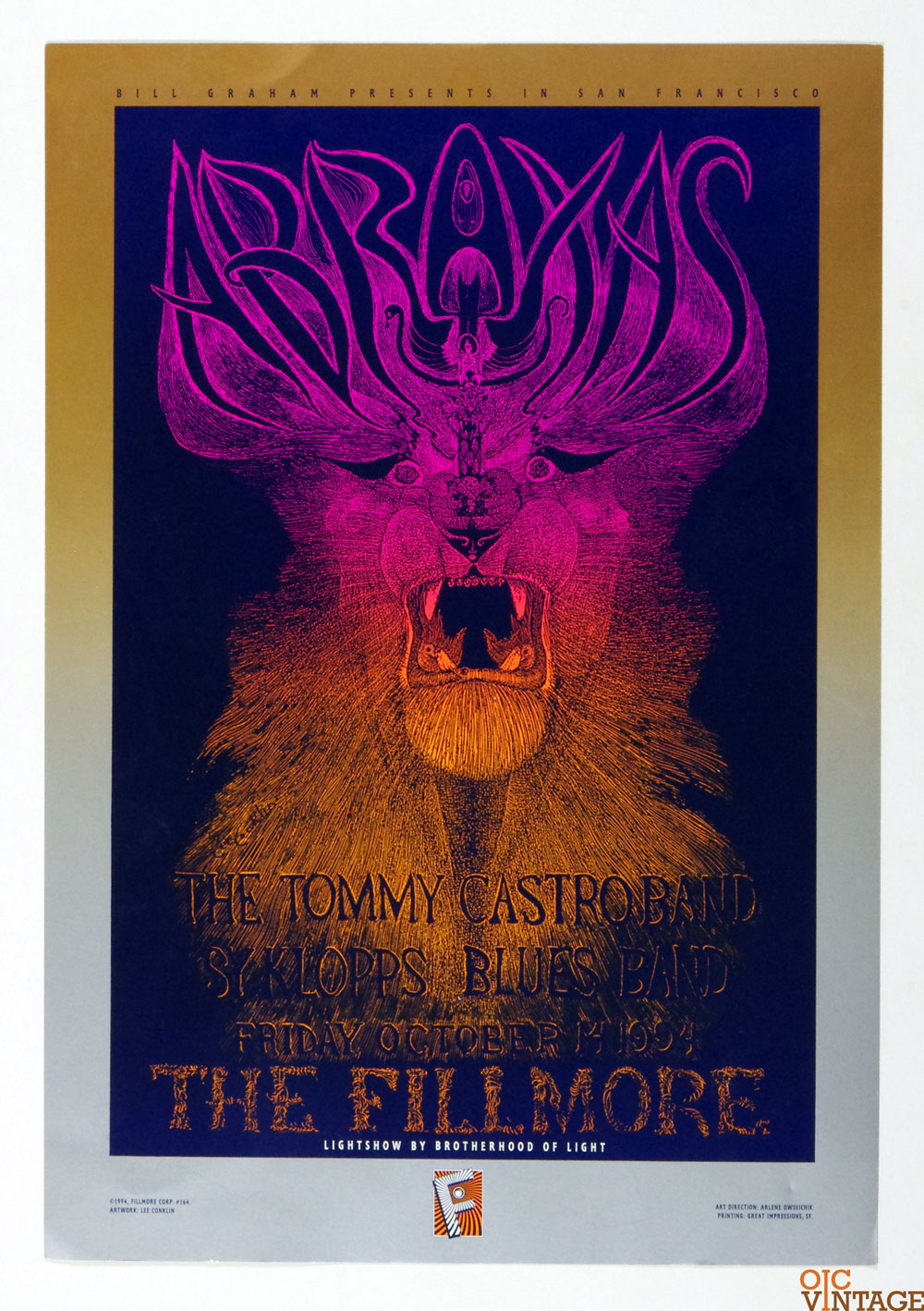 New Fillmore F164 Poster Lee Conklin ABRAXAS The Tommy Castro Band 1994 Oct 14