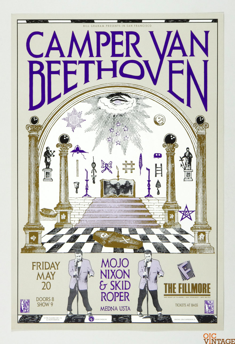 New Fillmore F019 Poster Camper Van Beethoven Mojo Nixon & Skid Roper 1988 May 20