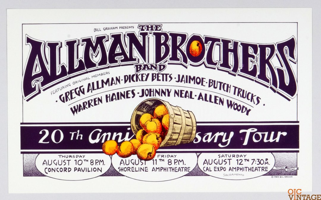 Bill Graham Presents Poster 1989 Aug 10 Allman Brothers 20th Anniversary Randy Tuten
