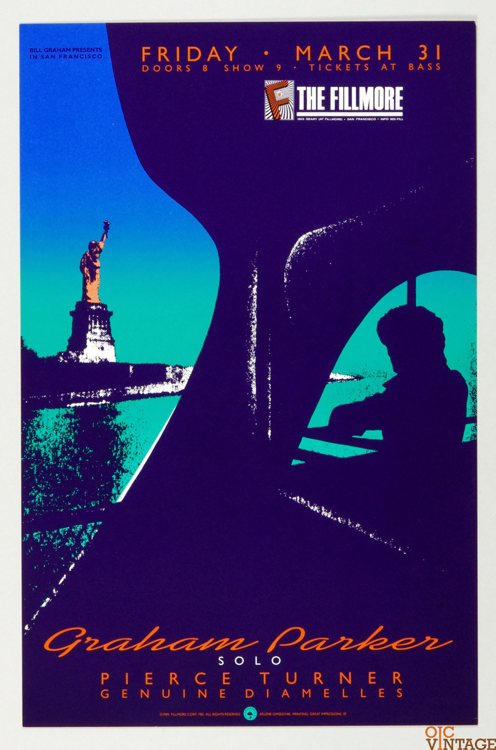 New Fillmore F085 Poster Graham Parker Pierce Turner 1989 Mar 31