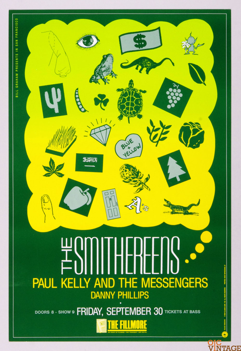 New Fillmore F052 Poster The Smithereens Paul Kelly and the Messenger 1988 Sep 30