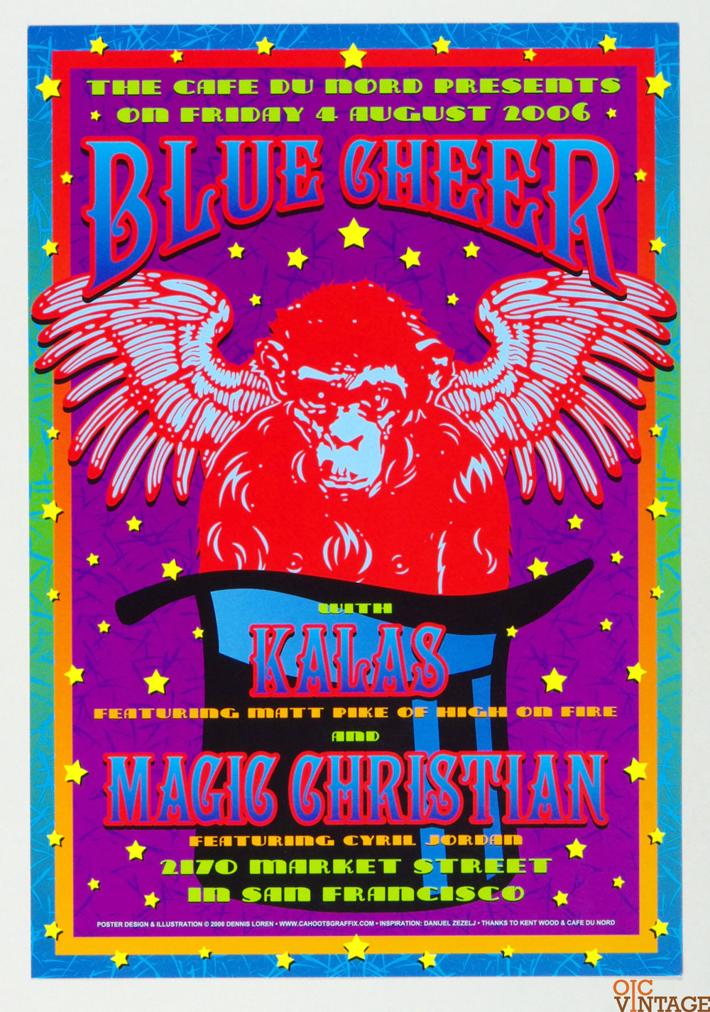 Blue Cheer Poster 2006 Aug 5 Cafe Du Nord San Francisco