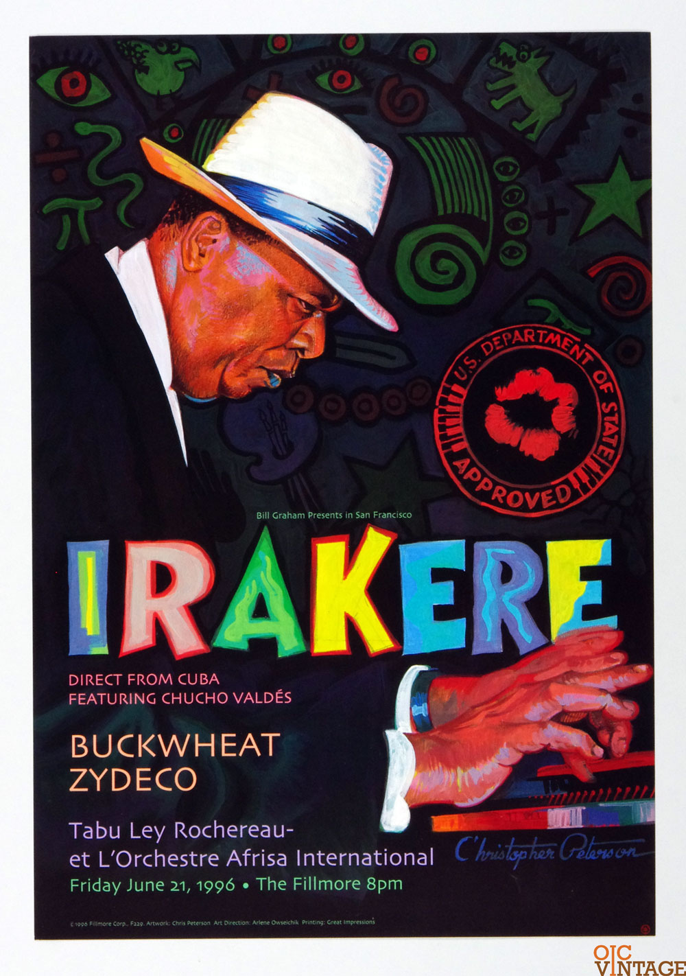 Bill Graham Presents Poster 1996 Jun 21 Irakere Chucho Valdes #229