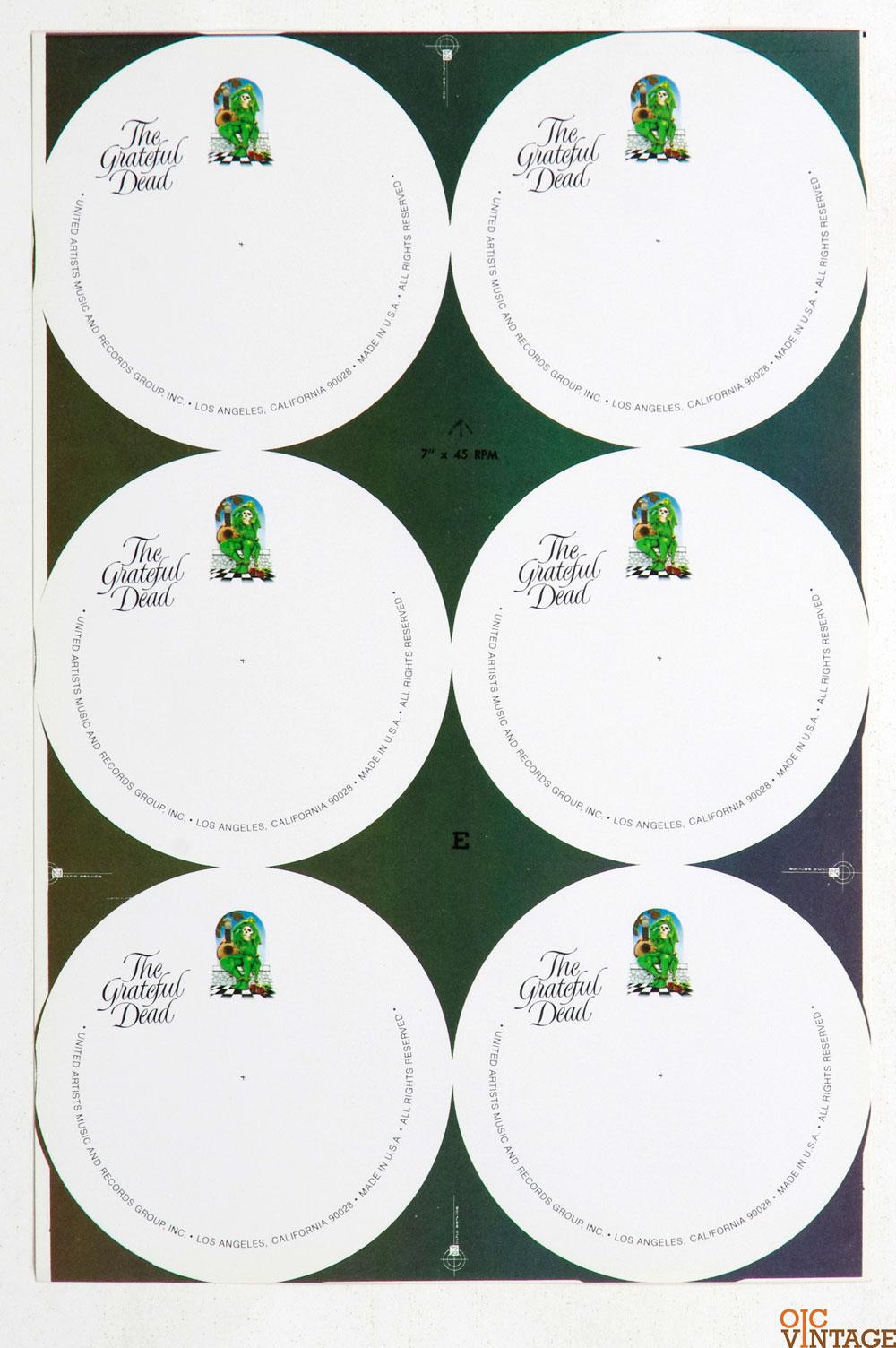 Grateful Dead Print Wake of The Flood Concept Vinyl Label Proof 1973 Rick Griffin