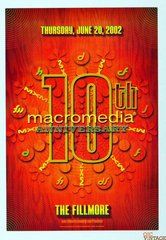 Bill Graham Special Poster Rex Ray 10th Macromedia Anniversary 2002 Jun 20 BGSE # 29