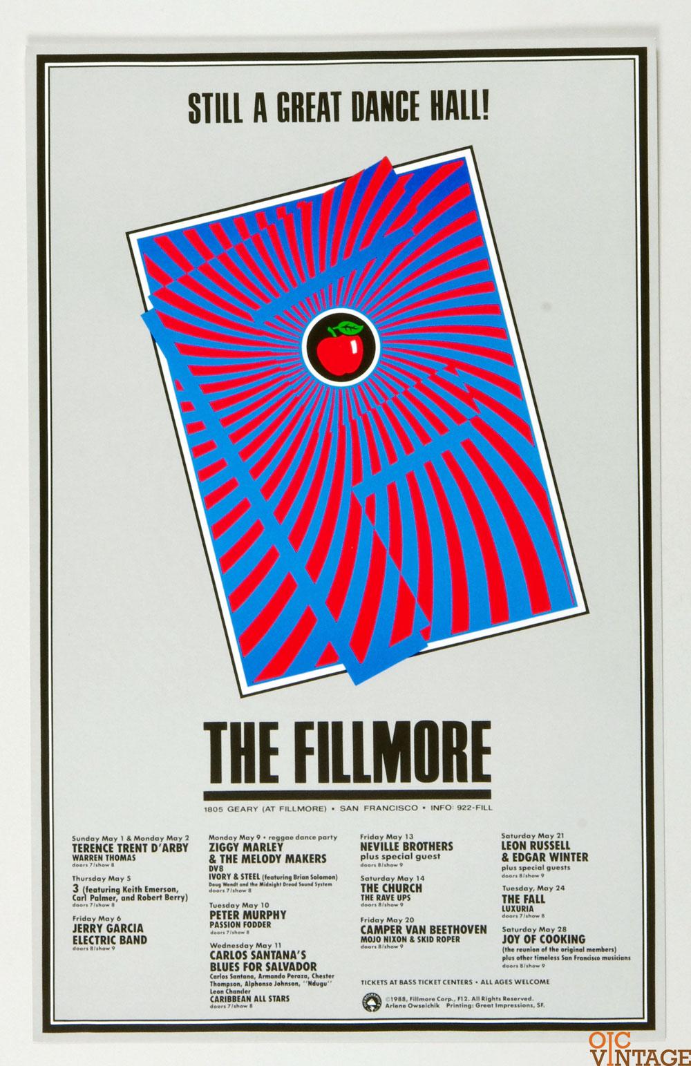 New Fillmore F012 Poster Jerry Garcia Carlos Santana 1988 May Concert