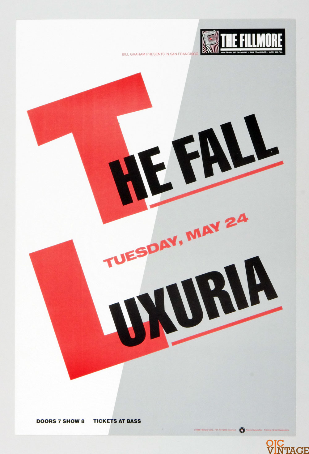 New Fillmore F021 Poster The Fall Luxuria 1988 May 24