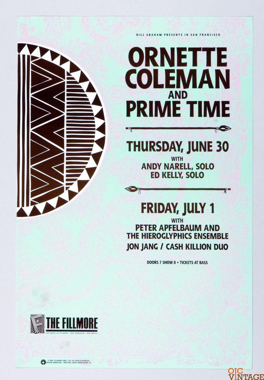 New Fillmore F030 Poster Ornette Coleman and Prime Time 1988 Jun 30