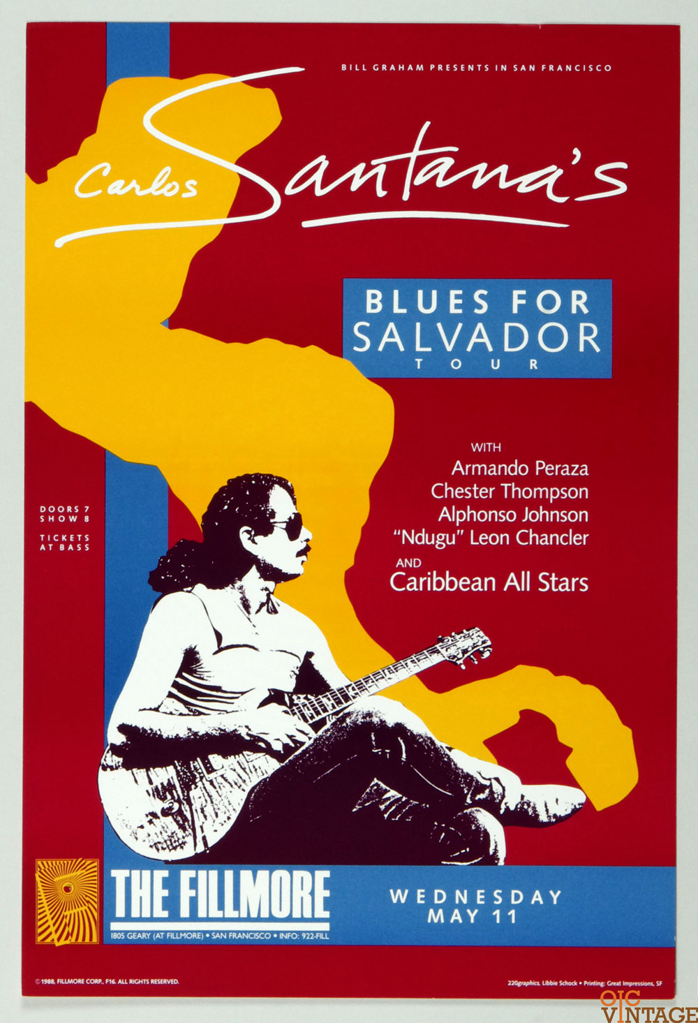 New Fillmore F016 Poster Carlos Santana Blues For Salvador 1988 May 11