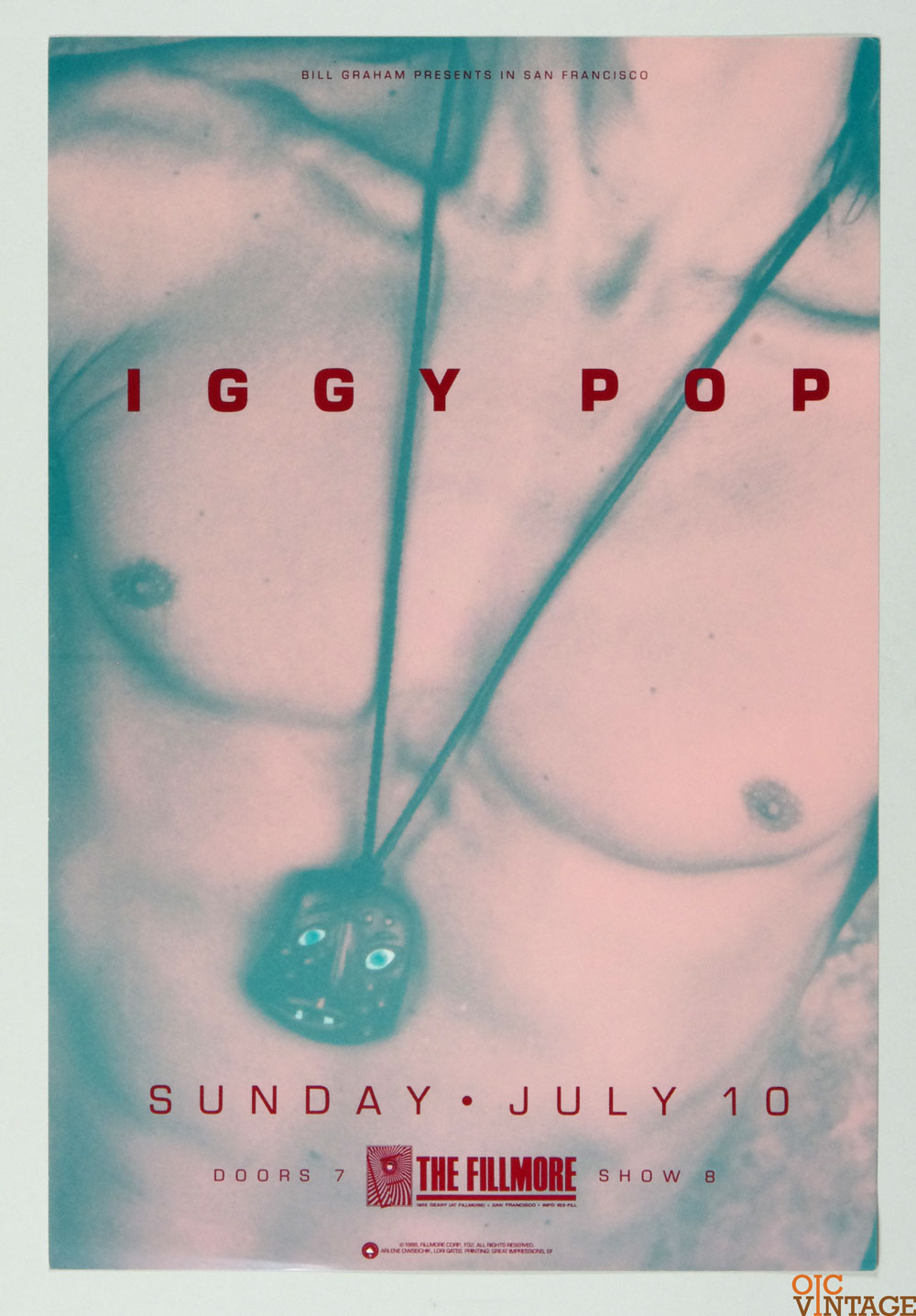 Iggy Pop Poster 1988 Jul 10 New Fillmore