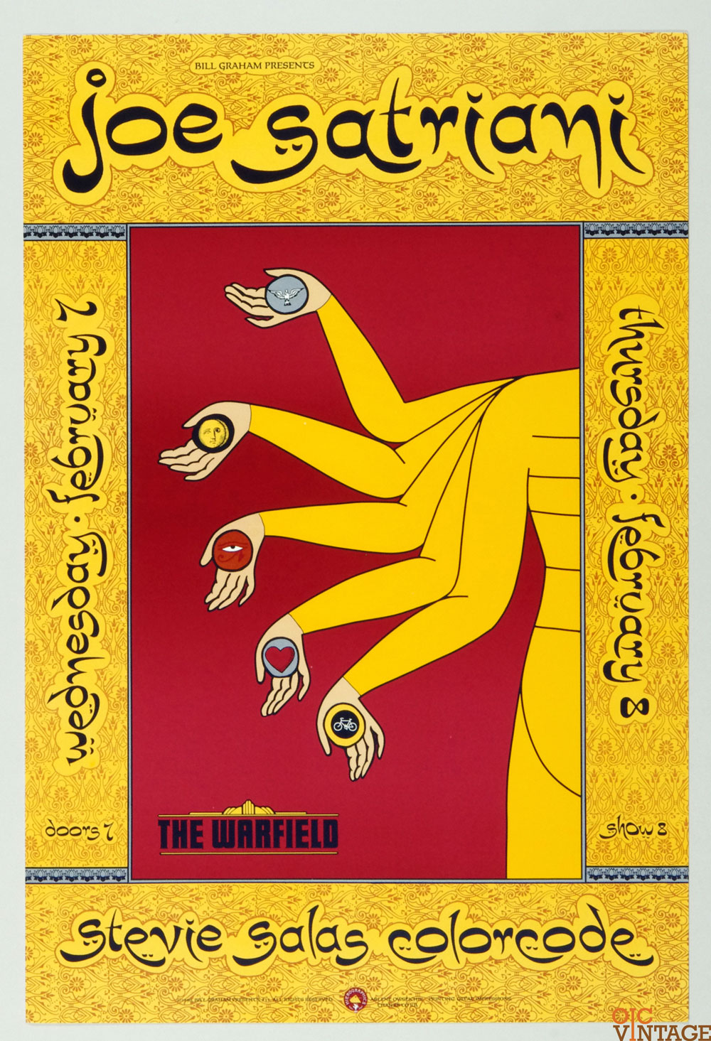 Bill Graham Presents Poster 1990 Feb 8 Joe Satriani #35