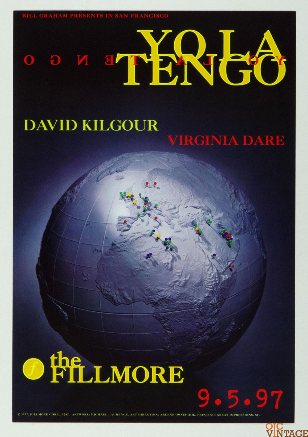 Yo La Tengo David Kigour Poster 1997 Sep 5 New Fillmore