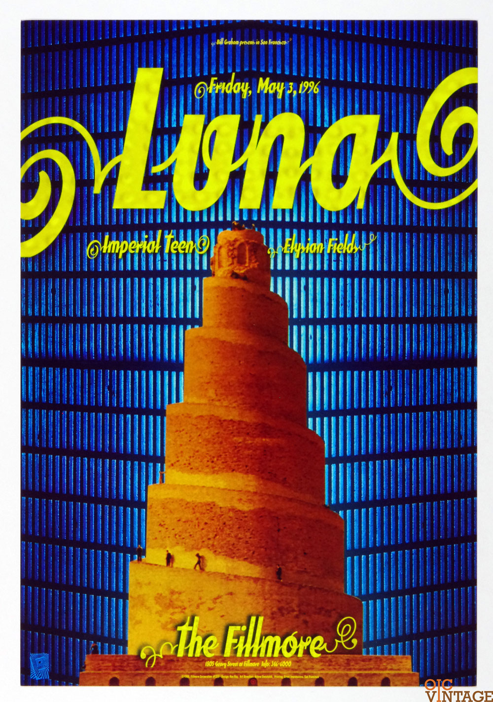 New Fillmore F220 Poster LUNA Imperial Teen Elysian Fields 1996 May 3