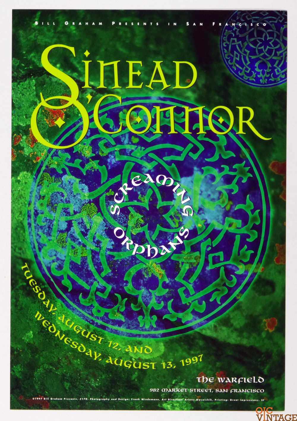 Bill Graham Presents Poster 1997 Aug 13 Sinead O'Connor Screaming Orphans #170