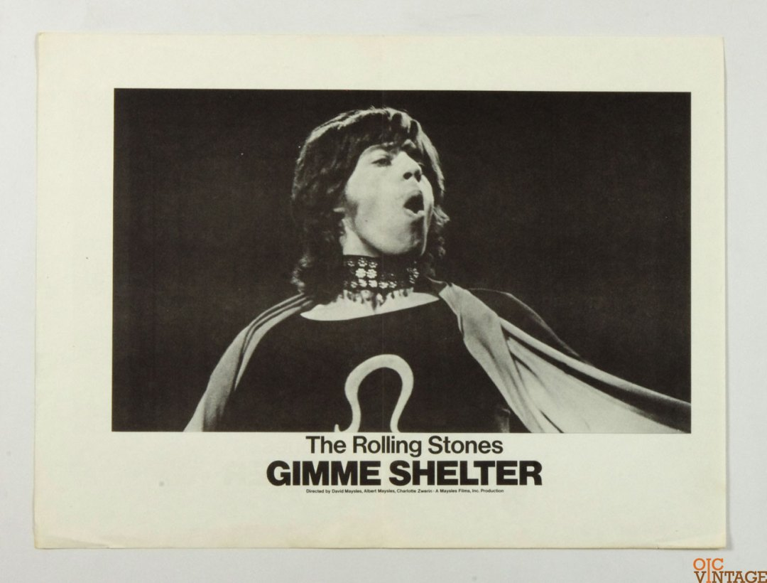 Gimme Shelter Movie Poster 1970 The Rolling Stones Mick Jagger