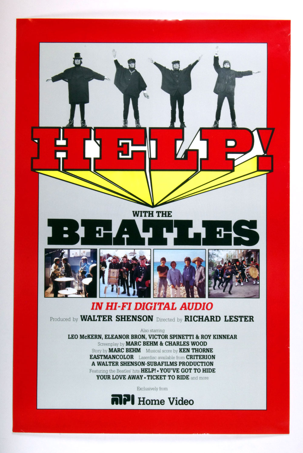 The Beatles Poster HELP! Movie Home Video Release Promo 24 x 36