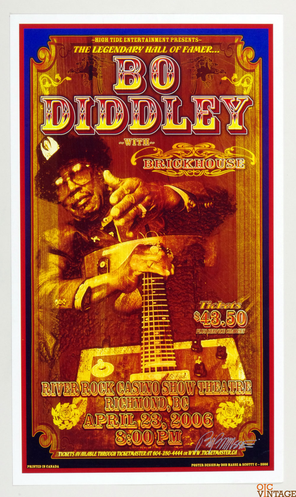 Bo Didley Poster River Rock Casino Theater Canada 2006 Apr 23 Bob Masse signed
