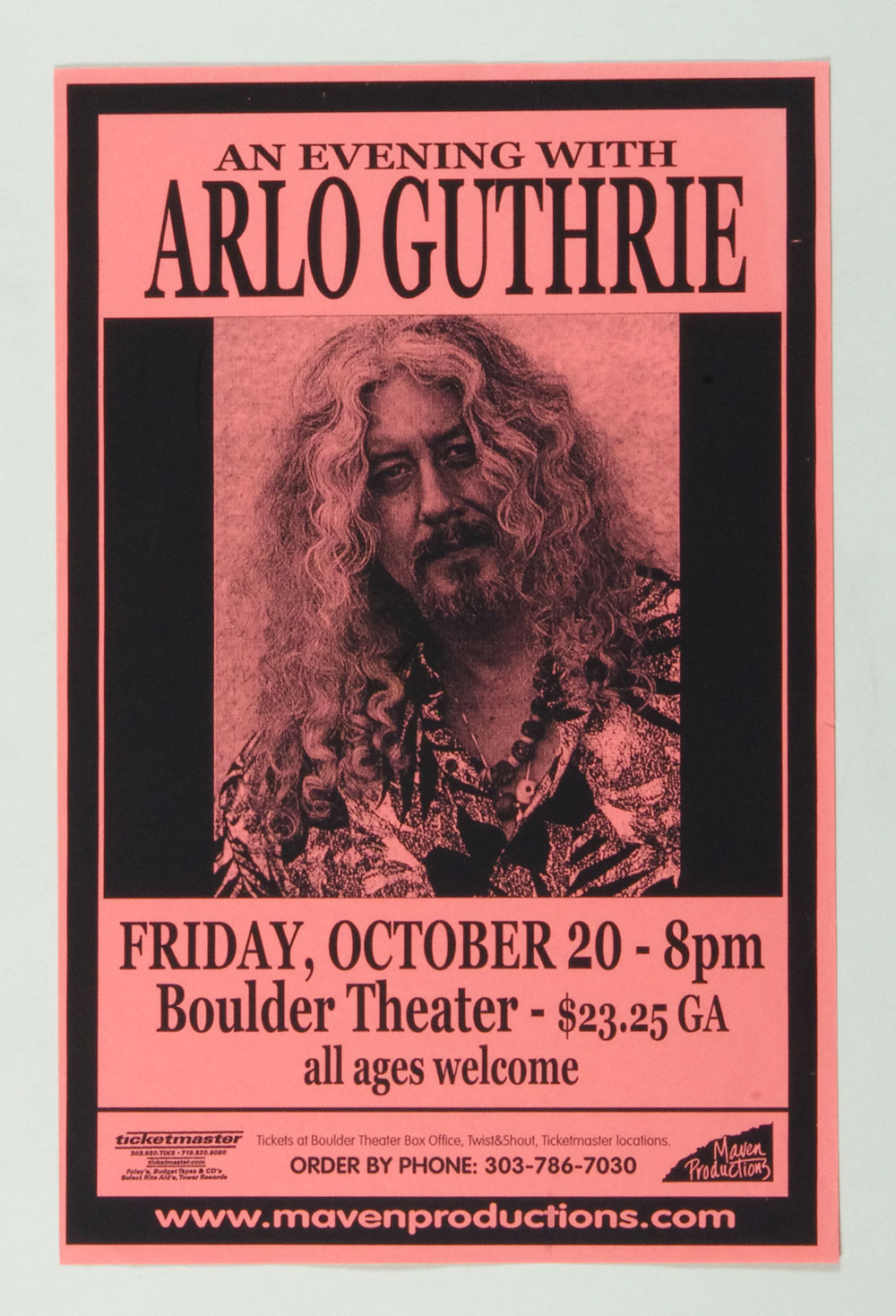 Arlo Guthrie Poster 2000 Oct 20 Boulder Theater Poster