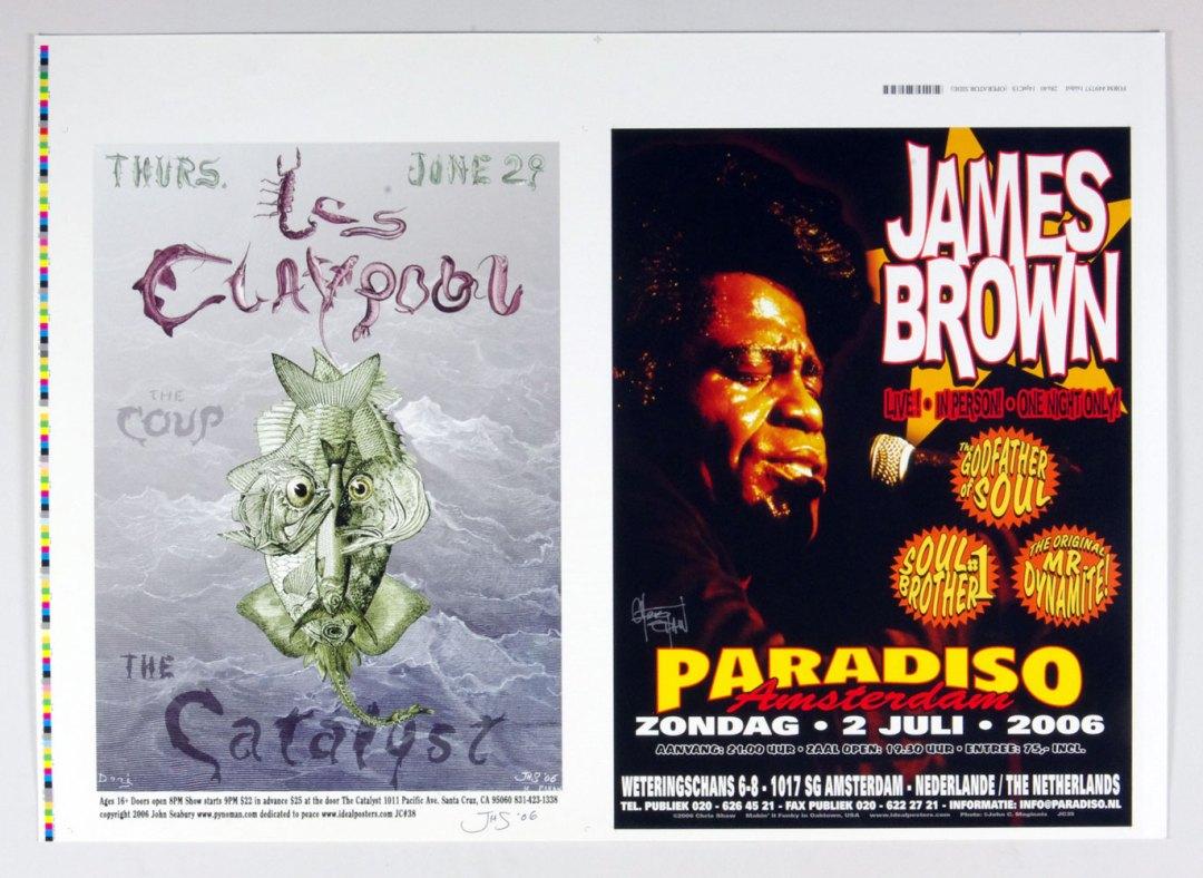 James Brown Les Calypool Poster Uncut Poof Chris Shaw John Seabury signed 2006