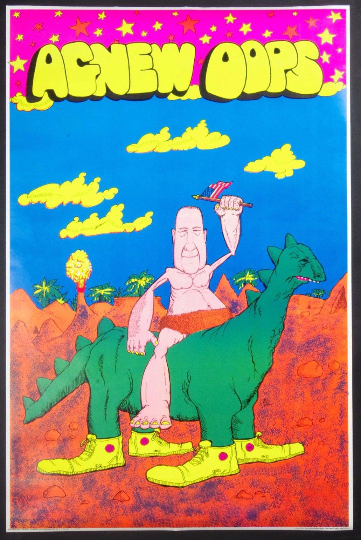 Robert Short Agnew Oops 1970 Black Light Poster 23 X 35