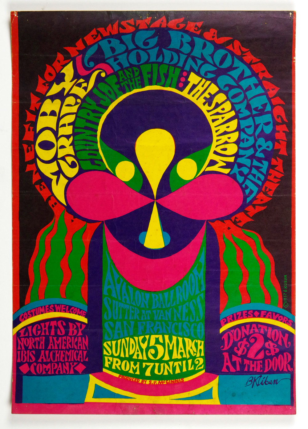 Avalon Ballroom Poster 1967 Mar 5 Moby Grape Big Brother and Holding Company