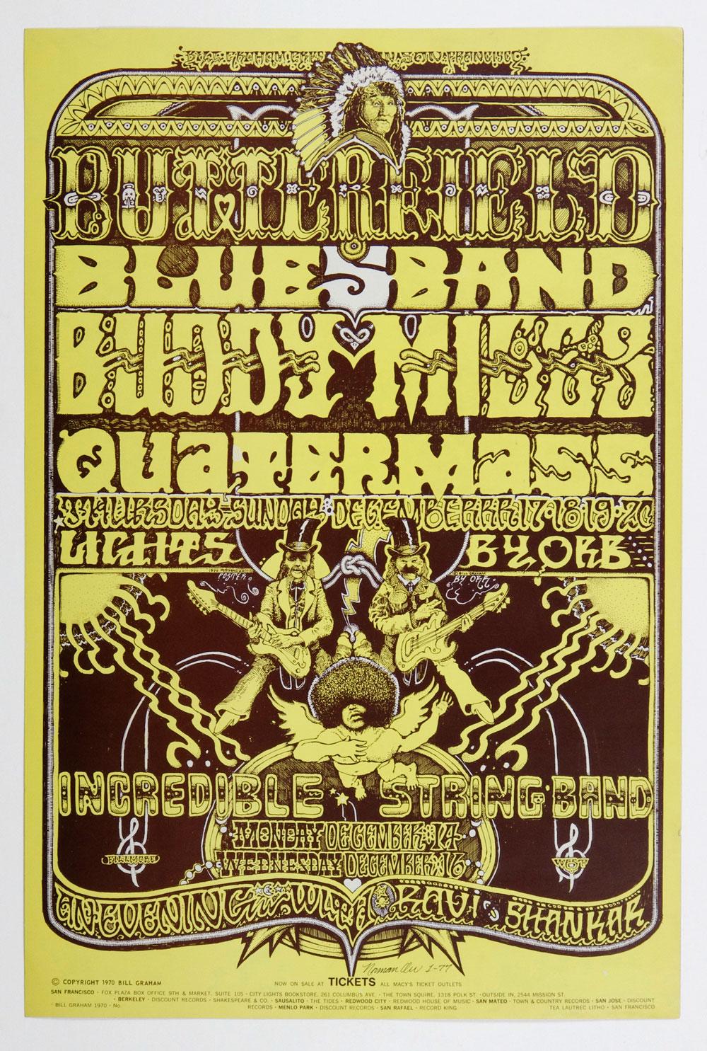 Bill Graham 261 Poster Incredible String Band Ravi Shankar 1970 Dec 14 Norman Orr signed