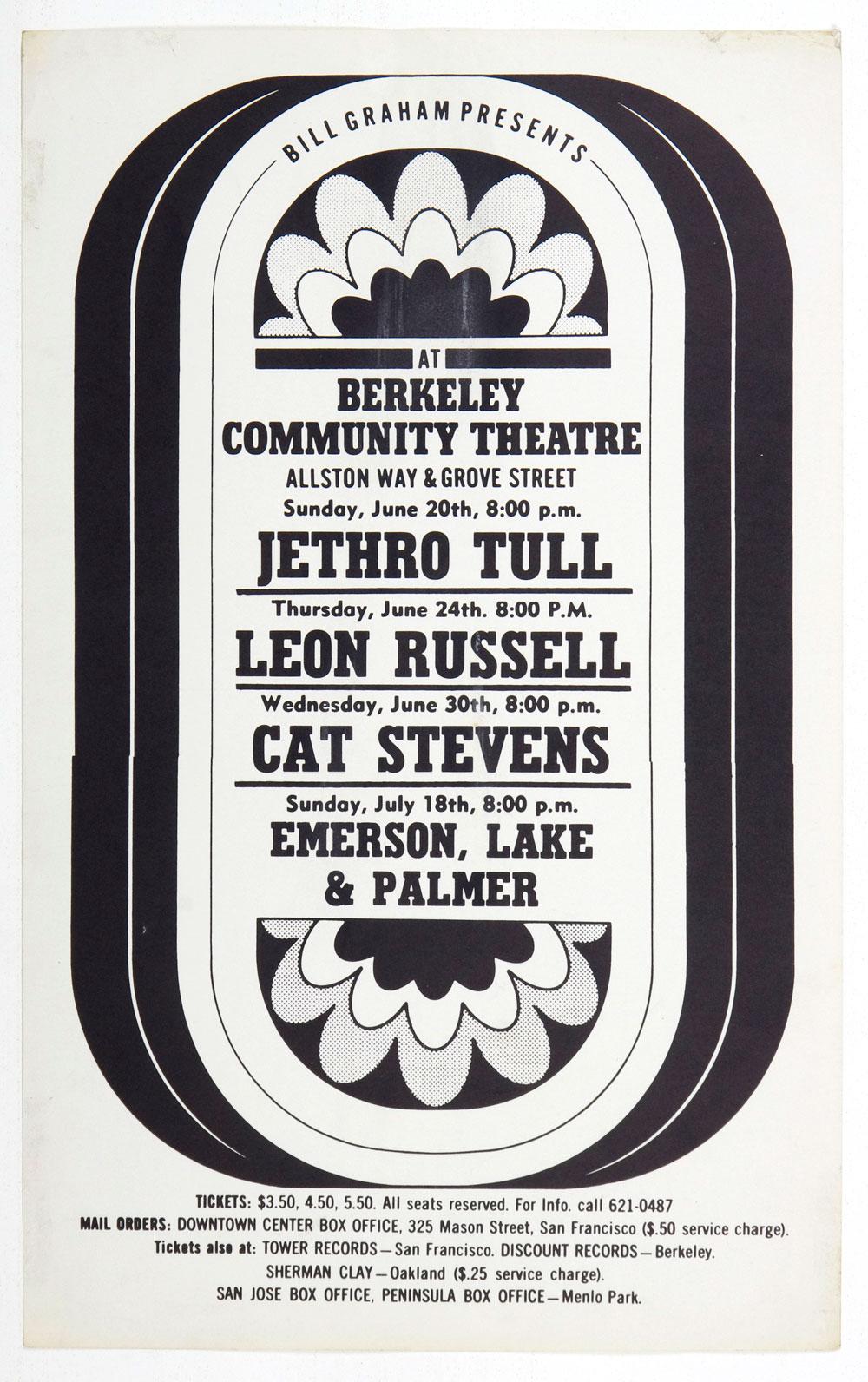 BIll Graham Presents Poster 1971 Jethro Tull Cat Stevense Berkeley Community Theatre