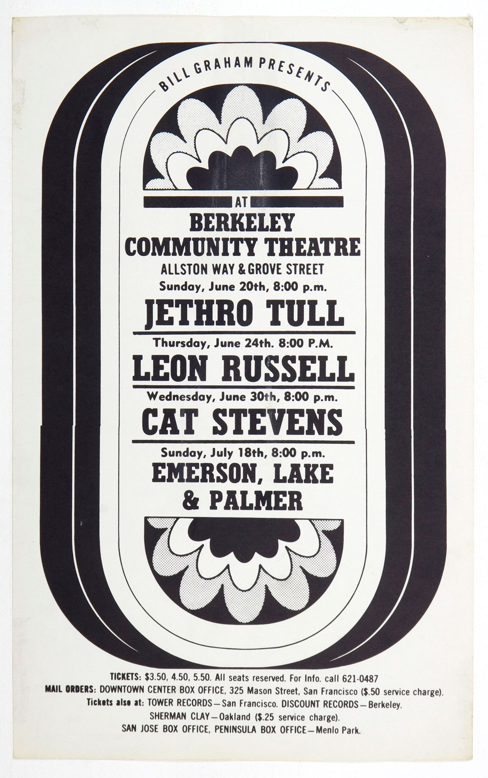 BIll Graham Presents Poster 1971 Jethro Tull Cat Stevense Berkeley Community Theatre