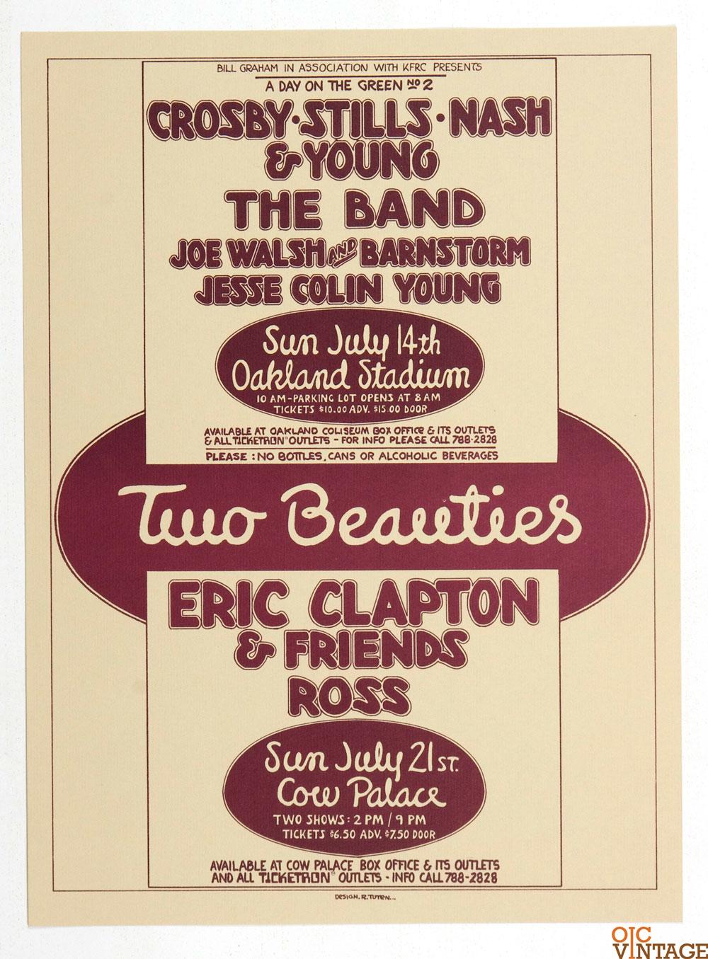 Crosby Stills Nash and Young Eric Clapton Joe Walsh Poster 1974 July Bill Graham Presents